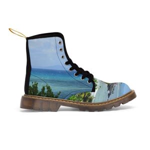Men's Martin Boots - Beach and coast of Palmas de Mar Housing complex - Puerto Rico Shoes Printify