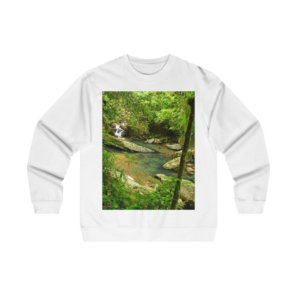 Men's Midweight Crewneck Sweatshirt - EYNF - La Mina river magic pond and cloud forest in Tradewinds 2014 - Yunque Store