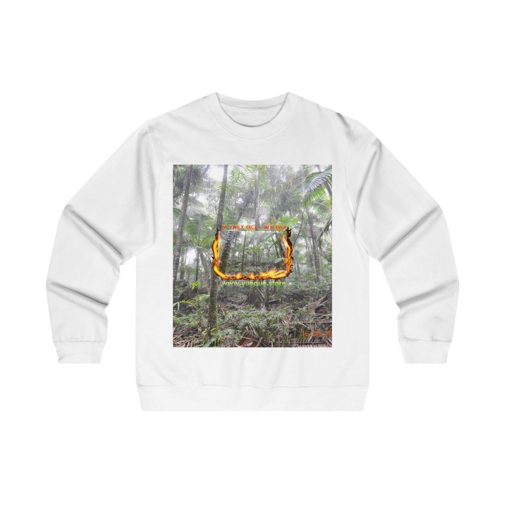 Men's Midweight Crewneck Sweatshirt - Logo with Cloud Forest in El Yunque rain forest PR - Yunque Store