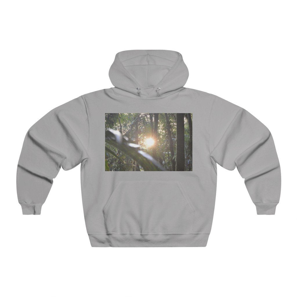 Men's NUBLEND® Hooded Sweatshirt - Sunset in the cloud forest and magic path in Tradewinds trail - Yunque Store