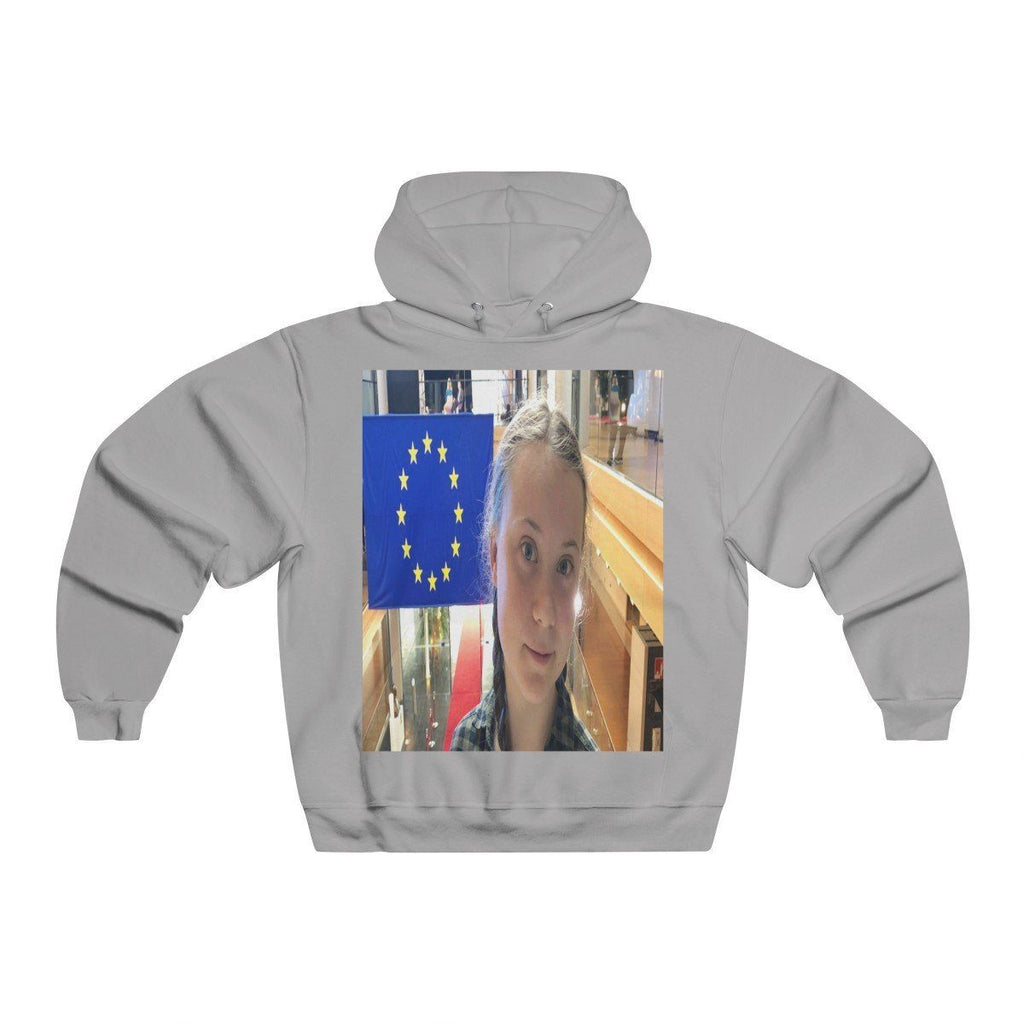 Men's NUBLEND® Hooded Sweatshirt - Fruit Of The Loom - Global Warming/Climate change/Keeling CO2 curve awareness - Greta on EU Climate conferences - melting of polar ice on back Hoodie Printify