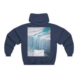 Men's NUBLEND® Hooded Sweatshirt - Fruit Of The Loom - Global Warming/Climate change/Keeling CO2 curve awareness - Greta sees Trump dash in/out UN GC meetings - melting of polar ice on back Hoodie Printify