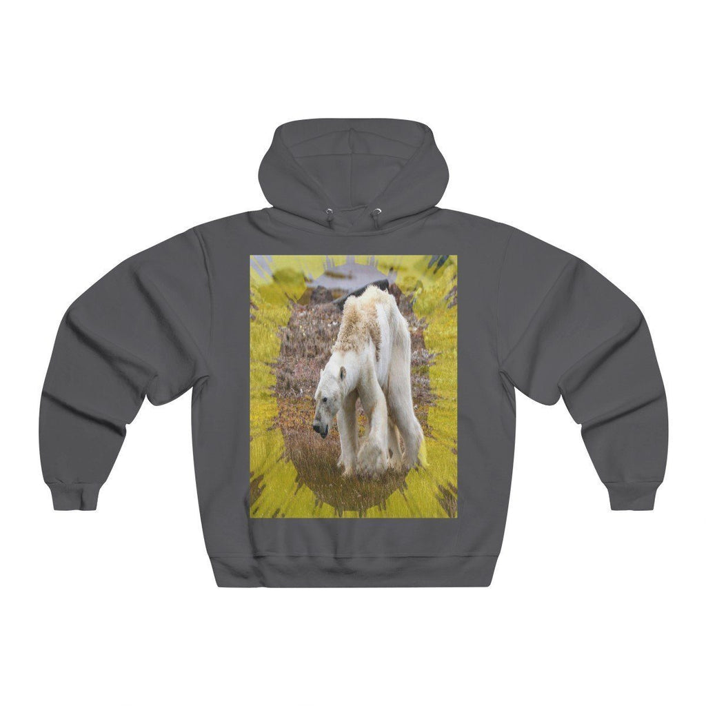 Men's NUBLEND® Hooded Sweatshirt - Fruit Of The Loom - Global Warming/Climate change/Keeling CO2 curve awareness - Polar bears starve due to early ice melt - melting of polar ice on back Hoodie Printify