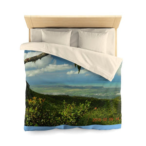 Microfiber Duvet Cover - Awesome view of ofrest & costline from Tres Picachos at 3K feet alt - El Yunque rain forest PR - Yunque Store