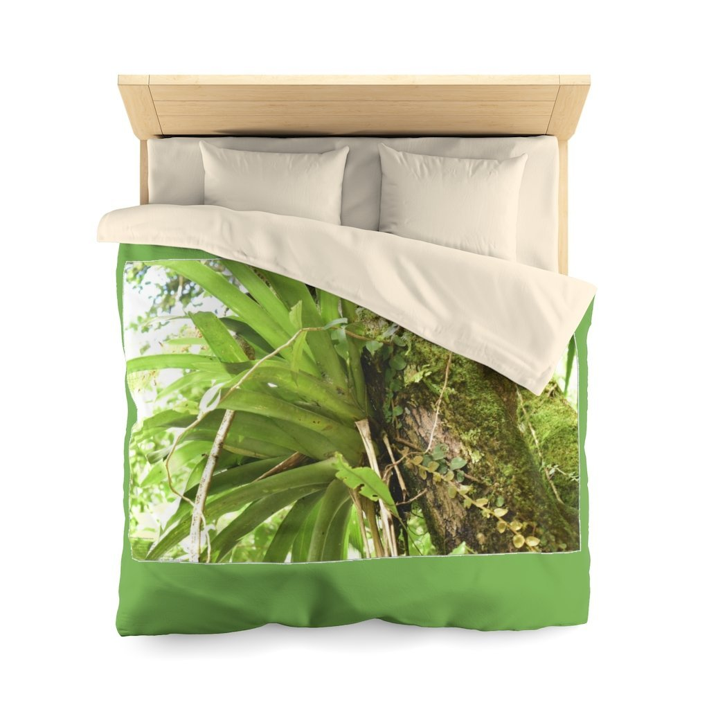 Microfiber Duvet Cover - Bromeliad (house of the coqui) on tree - El Yunque rain forest PR - Yunque Store