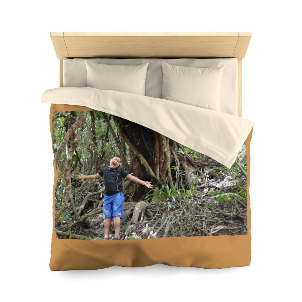 Microfiber Duvet Cover - Jose in exploration in front of ancient colorado tree - El Yunque rain forest PR - Yunque Store