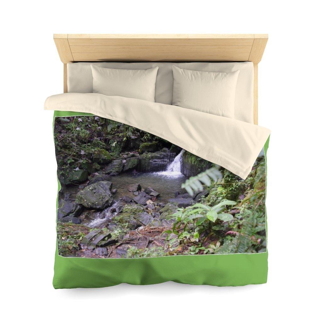 Microfiber Duvet Cover - Pond in Juan Diego river - El Yunque rain forest PR - Yunque Store
