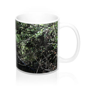 Mug 11oz - Rio Sabana exploration - fallen Sierra Palm due to Hurricane Maria - Yunque Store