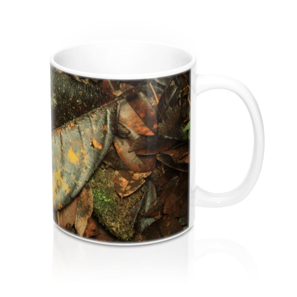 Mug 11oz - UK Print - Trail floor leaves - cloud forest Tradewinds trail - El Yunque rain forest Puerto Rico - Yunque Store