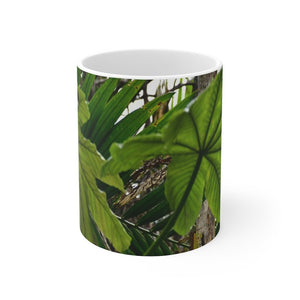 Mug 11oz - USA MADE - Unique images of Yagrumo Tree & leafs from El Yunque rainforest PR - Human 👩‍🦰 Vision - Yunque Store