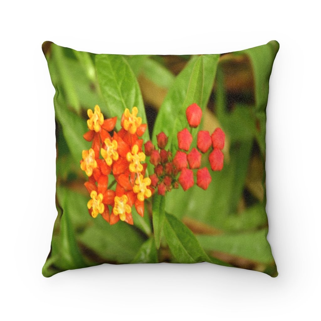 Nature@Home - Faux Suede Square Pillow Case - Tropical Plants of Puerto Rico - Common flower - Made in USA - Yunque Store