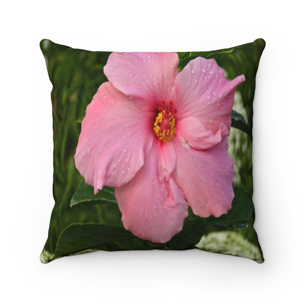 Nature@Home - Faux Suede Square Pillow Case - Tropical Plants of Puerto Rico - Hibiscus - Made in USA - Yunque Store