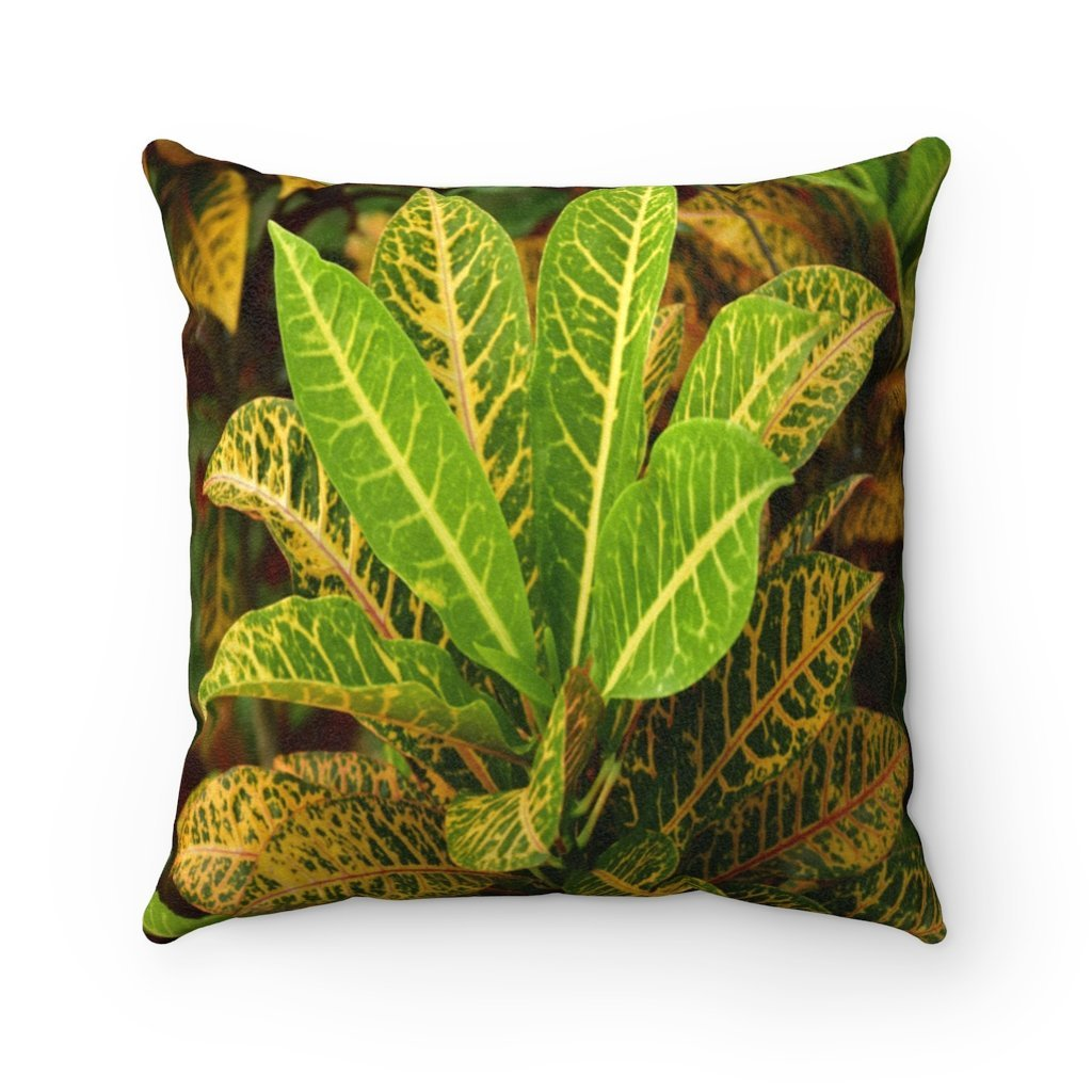 Nature@Home - Faux Suede Square Pillow Case - Tropical Plants of Puerto Rico - Made in USA - Yunque Store