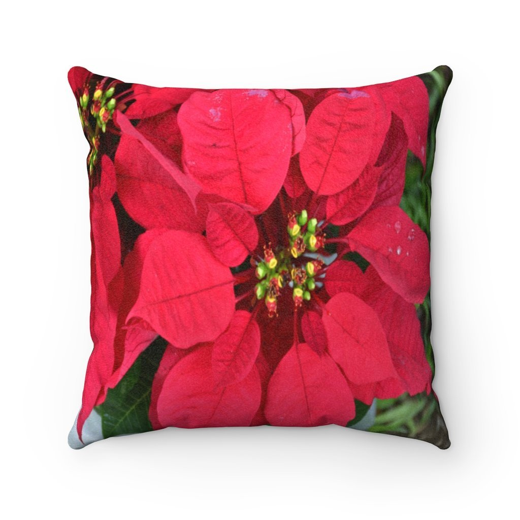 Nature@Home - Faux Suede Square Pillow Case - Tropical Plants of Puerto Rico that flowers in Christmas - Made in USA - Yunque Store