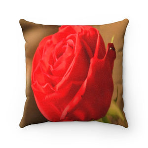 Nature@Home - Faux Suede Square Pillow Case - Tropical Plants of Puerto Rico - The Red Rose - Made in USA - Yunque Store