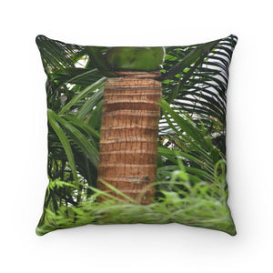 Nature@Home - Spun Polyester Square Pillow - High Mountain Rainforest - Closeup Sierra Palm Trunk - Toro Negro rainforest Park Over 4,000 feet altitude - Highest in Puerto Rico - Yunque Store
