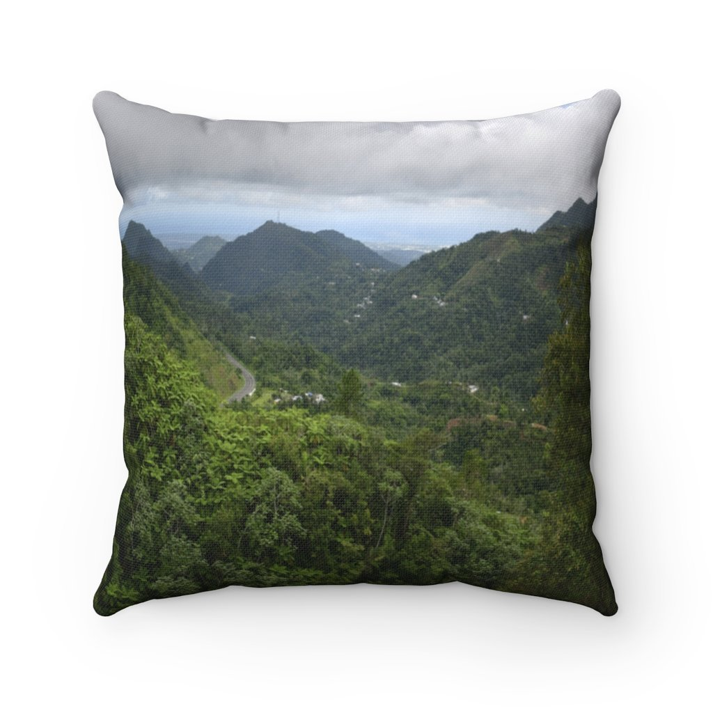 Nature@Home - Spun Polyester Square Pillow - High Mountain Rainforest view - Toro Negro rainforest Park Over 4,000 feet altitude - Highest in Puerto Rico - Yunque Store