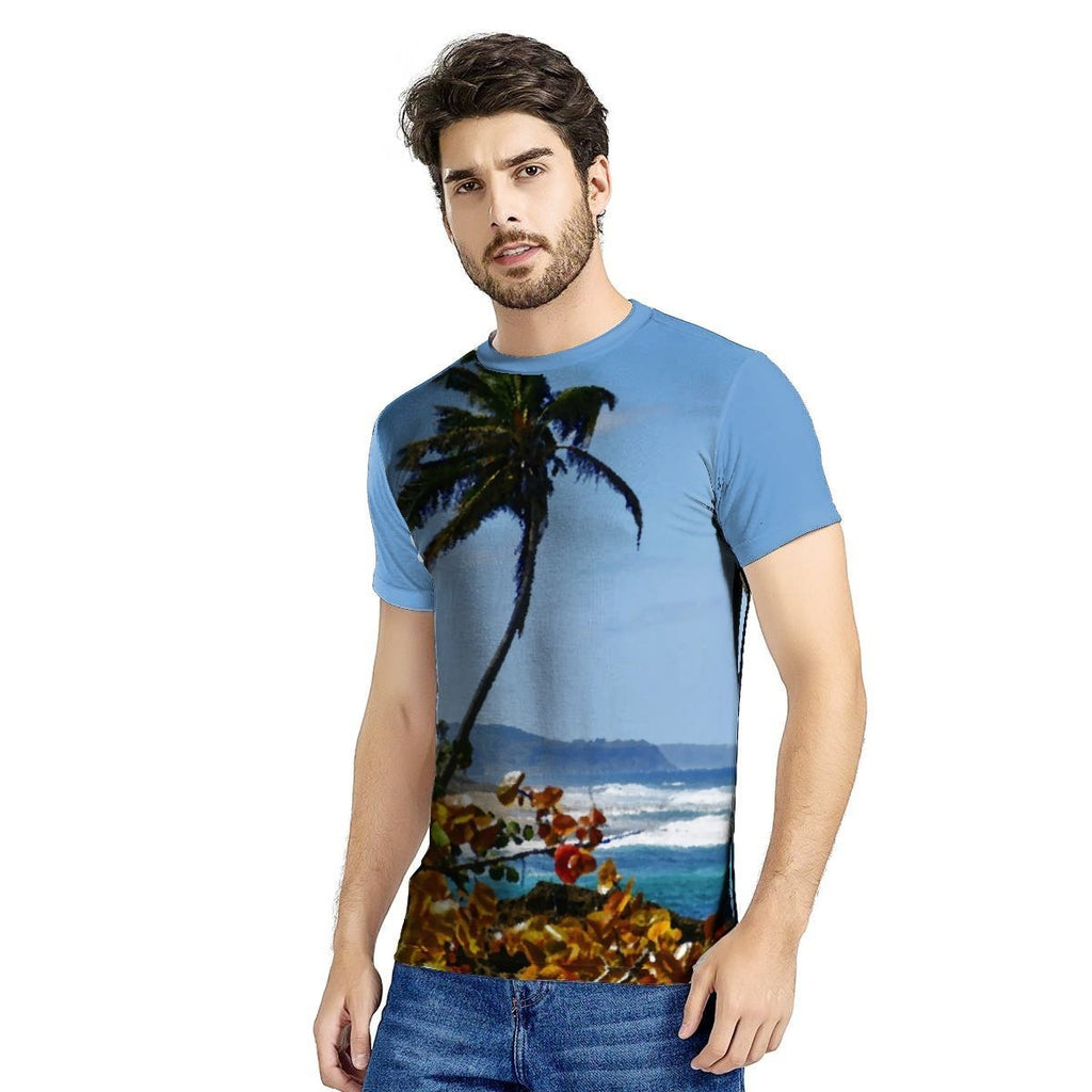 😎 New Men's All Over Print T-shirt (AOP) - AWESOME World Class Beaches of Puerto Rico - Hidden beach near Arecibo 🌊🌴🌴 - Yunque Store