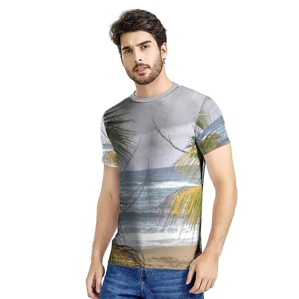 📢 New Men's All Over Print T-shirt - Hau beach near Hau resort - Isabela - AWESOME World Class Beaches of Puerto Rico 🌊 - Yunque Store