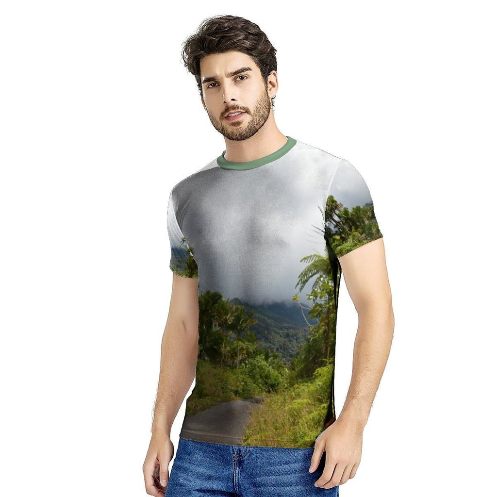 New Men's All Over Print T-shirt - The 3 hr long closed road PR 191 due to landslides - in El Yunque rainforest - Puerto Rico 🌴🌴🌴🌴 - Yunque Store