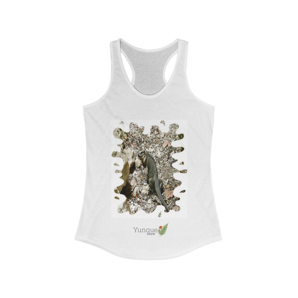 Next Level 1533 - Bargain $9.99 - Women's Ideal Racerback Tank - Breathtaking Mona Island Pajaros beach IGUANA - Puerto Rico - Yunque Store