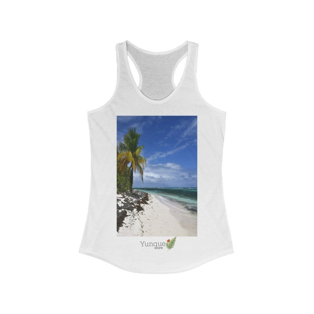Next Level 1533 - Bargain $9.99 - Women's Ideal Racerback Tank - Breathtaking Mona Island Pajaros beach - Puerto Rico - Yunque Store