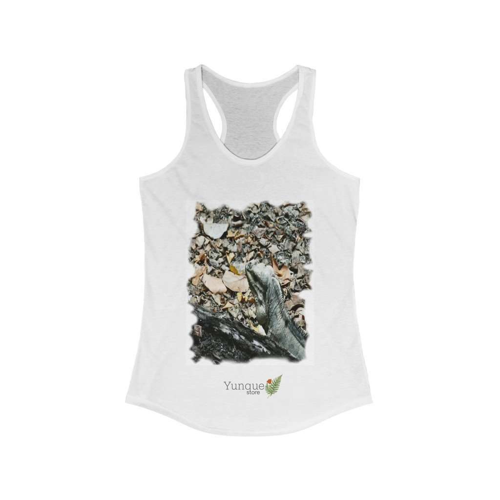 Next Level 1533 - Bargain $9.99 - Women's Ideal Racerback Tank - Mona Island Native Iguana seeking food - Puerto Rico - Yunque Store