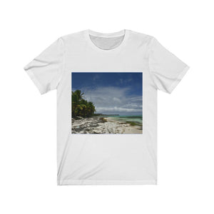 ON THE BEACH! - BELLA + CANVAS 3001 - Unisex Jersey Short Sleeve Tee - US MADE - Square Framed Premium Galery Wrap Canvas -- Remote & Pristine Mona Island near Puerto Rico - color curves manually modified for special effects on back - Yunque Store