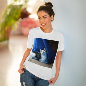 Organic Creator T-shirt - Unisex - Cat Dante dazzled by curtains and light - Isabela Puerto Rico - Yunque Store