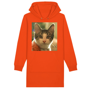 ORGANIC HOODIE DRESS - STREETER - Baby cat Dante looks at photographer - Puerto Rico - Yunque Store