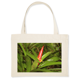 ORGANIC SHOPPING BAG - Bromeliad with flower - an airplant - El Yunque rainforest PR - Yunque Store