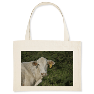 ORGANIC SHOPPING BAG - Curious charming Cow #3213 - Naguabo Puerto Rico - Yunque Store