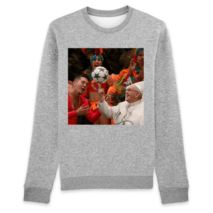 ORGANIC UNISEX SWEATSHIRT - RISE - Pope Francis shows his skills with soccer ball - Yunque Store