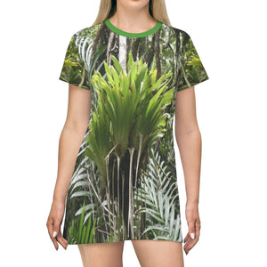 Over Print T-Shirt Dress - Bromeliad in Sierra Palm - Toro Negro PR - Yunque Store