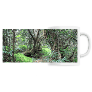 PANORAMIC CERAMIC MUG - Paradise path in 14km Tradewinds trail - El Yunque rainforest - scene destroyed by Hurricane Maria in 2017 - Yunque Store