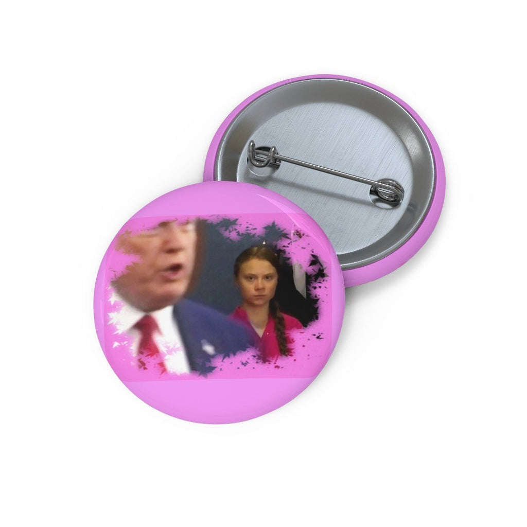 Pin Buttons - Greta watches as Trump makes a dash entry into the UN Climate conference for a photo opp. Accessories Printify