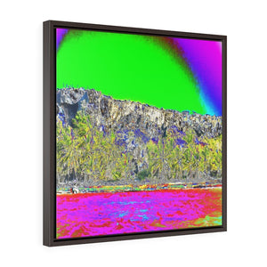 POP ART - US MADE - Square Framed Premium Gallery Wrap Canvas -- Remote & Pristine Mona Island FROM A BOAT - Puerto Rico - color curves manually modified for special effects - Yunque Store