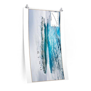 Premium Matte vertical posters - Made in USA in 1 day - Polar ice melting and animals trapped in broken ice shelf Poster Printify