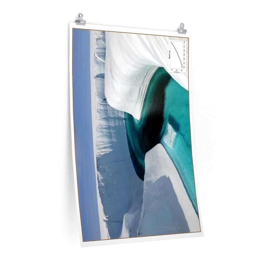 Premium Matte vertical posters - Made in USA in 1 day - Polar ice melting and new rivers get formed - note the person in the pircture! Poster Printify