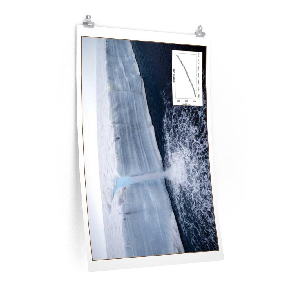Premium Matte vertical posters - Made in USA in 1 day - Polar ice melting leading to increasing sea height - flooding low level regions Poster Printify