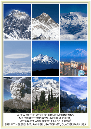 Premium Semi-Glossy Paper Metal Framed Poster - Some Top Mountains - Everest - Worlds Top, Mt. Shasta, Mt. Rainier (USA Top), Mt Helens - Yunque Store