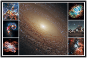 Premium Semi-Glossy Paper Wooden Framed Poster - Galaxy Flocculent spiral NGC 2841 in center - nebulas and Atacama Radio Astronomy center - HUBBLE - Yunque Store