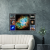GELATO Global Print - Premium Semi-Glossy Paper Wooden Framed Poster - Most detailed image of the Crab Nebula a Supernova explosion - other nebulas and the Atacama radio astronomy center - HUBBLE