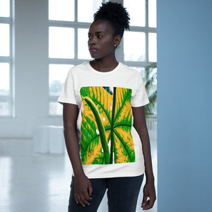Printed in AUSTRALIA - Women's Maple Tee - Yagrumo Tree leaf - El Yunque rainforest - Alien Vision 👽 - Yunque Store