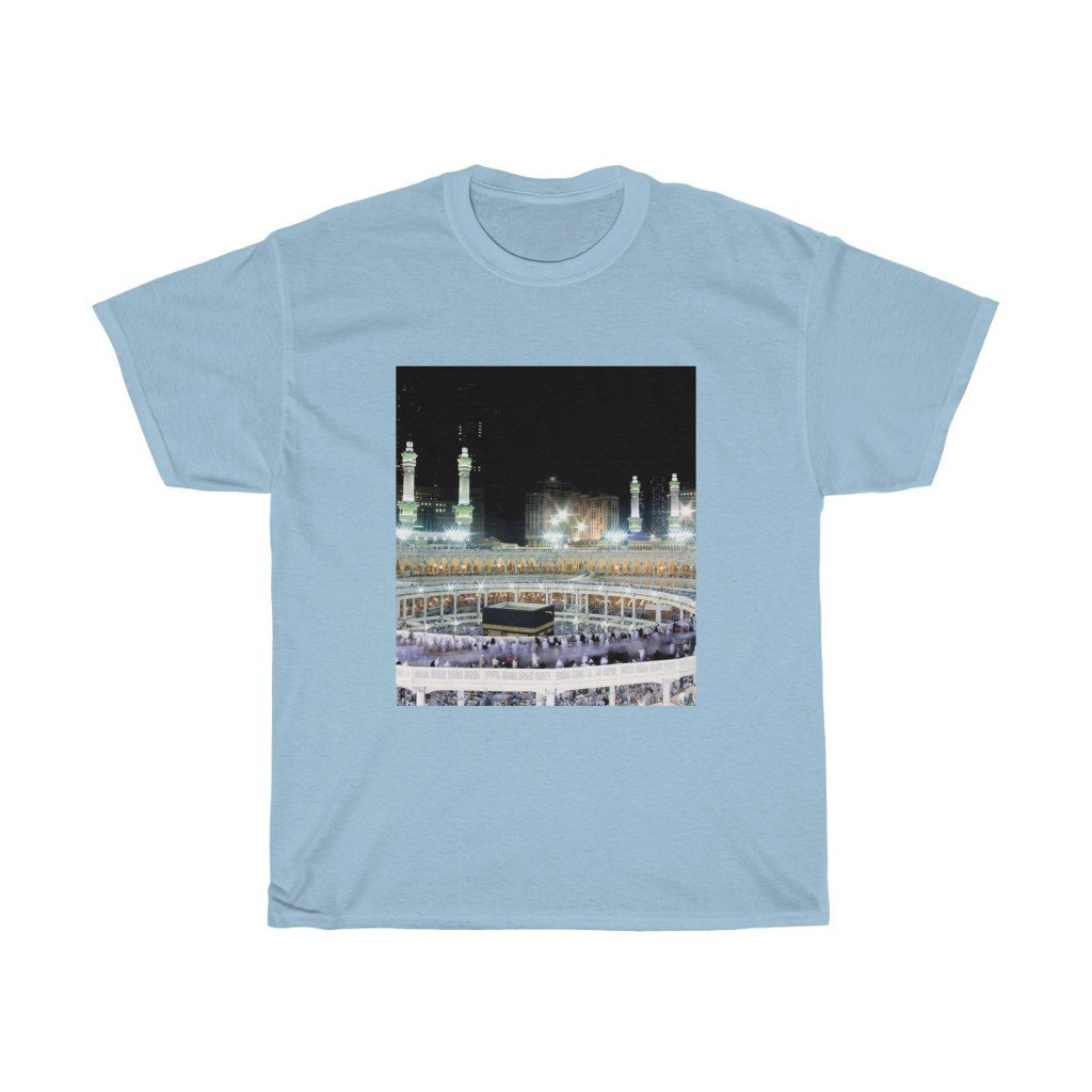 Printed in CANADA - Gildan 5000 - Unisex Heavy Cotton Tee - The great Mosque of Mecca - UAE - Islam - Yunque Store