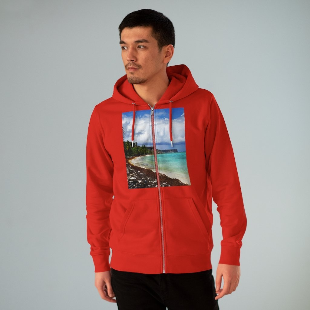 Printed in Germany - Men's Iconic Cultivator Zip Hoodie - 85% organic cotton & Heavy Fabric - eco-fashion TROPICAL hot deals to keep warm - Mona Island and Isabela Beach PR 🌴🌞🌴 - Yunque Store
