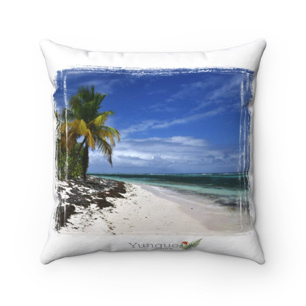 SALE - Spun Polyester Square Pillow - Mona island - paradise island Puerto Rico - Yunque Store