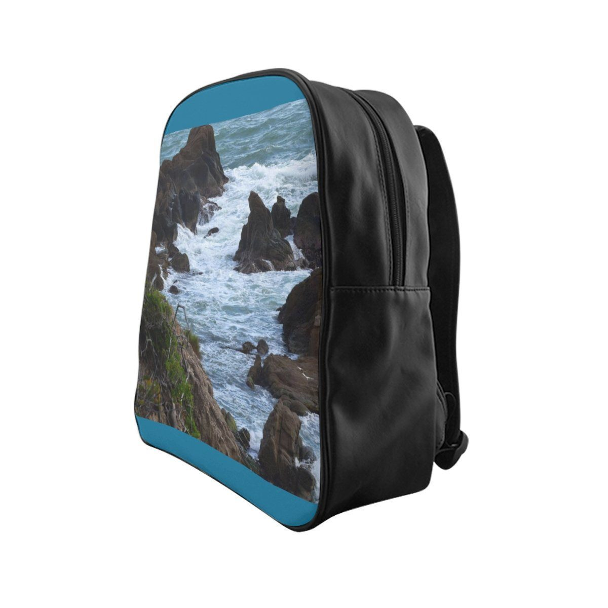 School Backpack - Awesome Rocky Beack in Palmas de Mar Housing complex - Puerto Rico Bags Printify