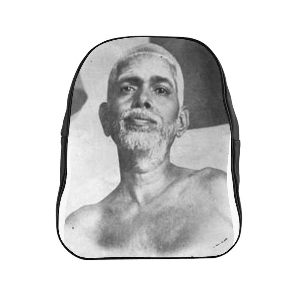 School Backpack- Hindu Buddha Ramana Maharashi - 'Your true Nature is Happiness' - Yunque Store