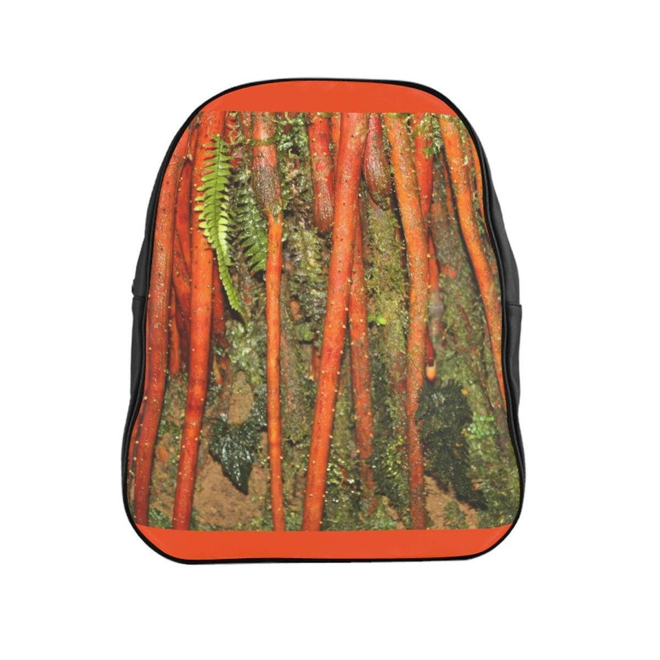 School Backpack - New orange roots of the Sierra Palm in the cloud forest - El Yunque rain forest PR Bags Printify